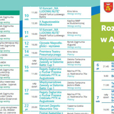 Kalendarz wydarzeń w Augustowie 2018