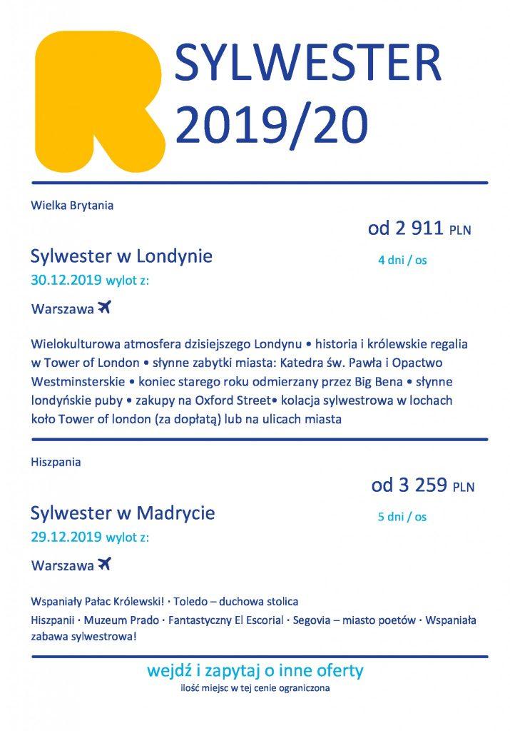 Sylwester 2020 w Londynie lub Madrycie