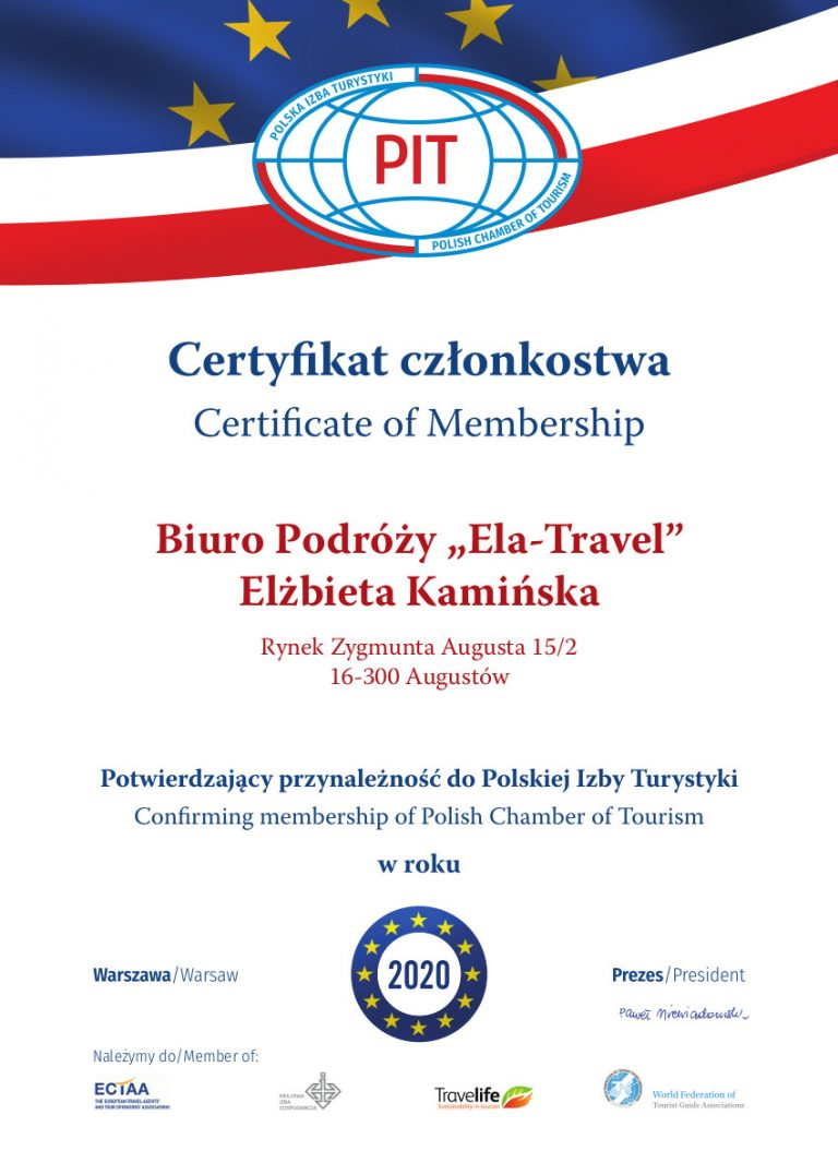 Certyfikat PIT 2020 ELA-TRAVEL